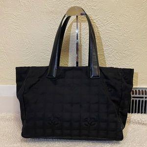 CHANEL travel line nylon tote bag in black